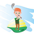pretty woman athlete playing golf vector image vector image