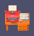 realistic typewriter workplace organization vector image vector image