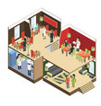 restaurant interior isometric bar cafe buffet vector image vector image