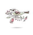 Romantic picture of a bird sitting on a blooming vector image vector image