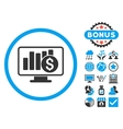 Sales Monitor Flat Icon with Bonus vector image vector image