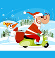santa claus on a scooter vector image