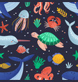 seamless pattern with cute funny marine animals vector image