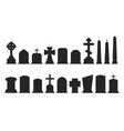 set gravestone silhouettes isolated on white vector image
