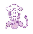 silhouette pretty woman with hat and blouse vector image vector image