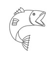 sketch silhouette of open mouth trout fish vector image vector image