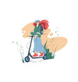 smiling girl riding on electric scooter vector image