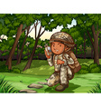 Soldier in forest on radio vector image
