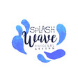 splash wave logo original design aqua blue label vector image vector image