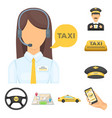 taxi service cartoon icons in set collection for vector image vector image