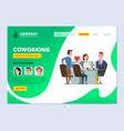 teamwork landing coworking concept web page vector image vector image