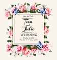 vintage wedding invitation design with colorful vector image