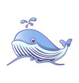 whale on sea waves icon cartoon style vector image