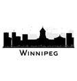 Winnipeg City skyline black and white silhouette vector image vector image