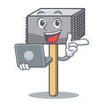 with laptop character of metallic meat tenderizer vector image vector image