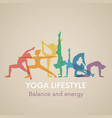 women silhouettes yoga poses vector image