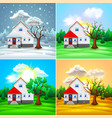 house and nature four seasons vector image