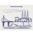 Ball pen sketch industrial landscape vector image