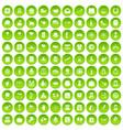 100 calendar icons set green circle vector image vector image