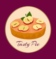 apple tasty pie on background vector image vector image