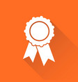 badge with ribbon icon in flat style on orange vector image vector image