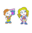 beatiful girl and boy with fashion patches in vector image