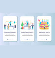 celebrate events mobile app onboarding screens vector image
