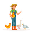 cheerful girl farmer is holding an egg and cute vector image vector image