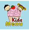 children with a muffin vector image