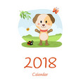 cover calendar 2018 with dog happy new year vector image