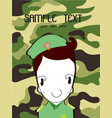 cute cartoon of a soldier background green vector image vector image