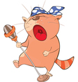 Cute Cat Singing Cartoon Character vector image
