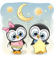 cute penguin boy gives a penguin girl a star vector image vector image