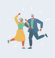 elderly couple dancing at a party vector image vector image
