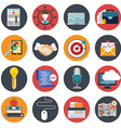 Flat business icon set office items vector image