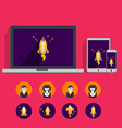 Flat collection laptop tablet phone vector image