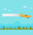 flying vintage plane with advertising banner vector image vector image