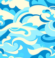 Graphic tropical surf waves in a seamless pattern vector image vector image