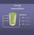 green smoothie ingridients concept background vector image