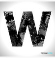 grunge letter w black font sketch style symbol vector image