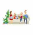 happy family open christmas presents - cartoon vector image