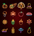 happy thanksgiving day neon icons vector image vector image