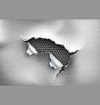 hole torn in ripped steel on metal vector image vector image