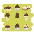 Ice cream and cake set vector image vector image