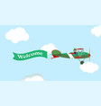 image of vintage plane with banner in the sky vector image