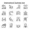 international business icons set in thin line vector image