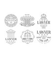 lawyer office logos retro logo set law firm vector image
