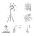 making a movie outline icons in set collection for vector image vector image