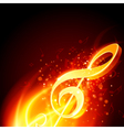 Music fire treble clef background vector image vector image