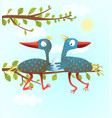 parents birds with newborn egg vector image vector image